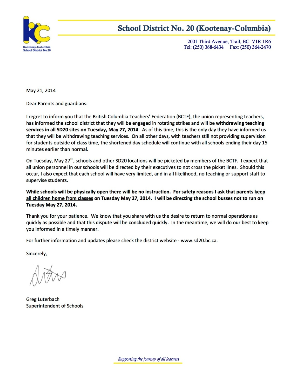 2014 05 21 Letter to Parents re rotating strikes