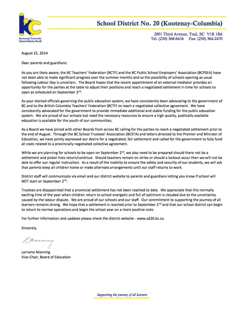2014 08 25 Letter to Parents re school startup
