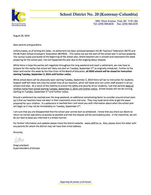2014 08 29 Letter to Parents re start of school year