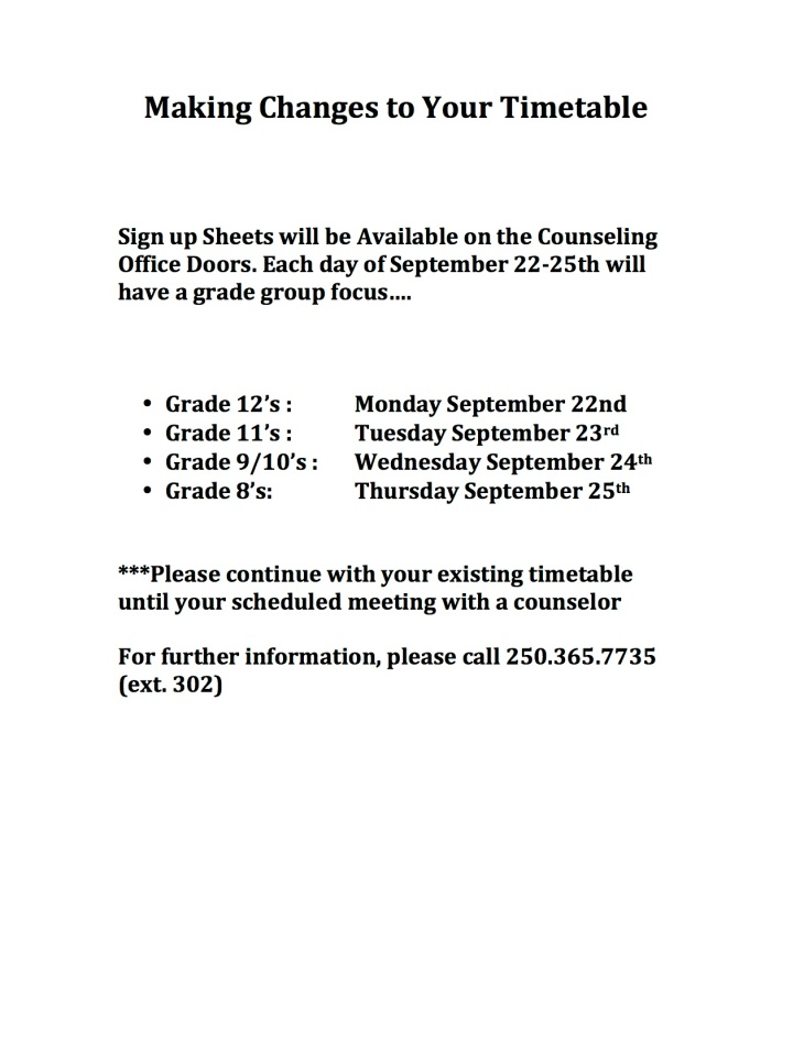 Sign up Sheets will be Available on the Counseling Office Doors