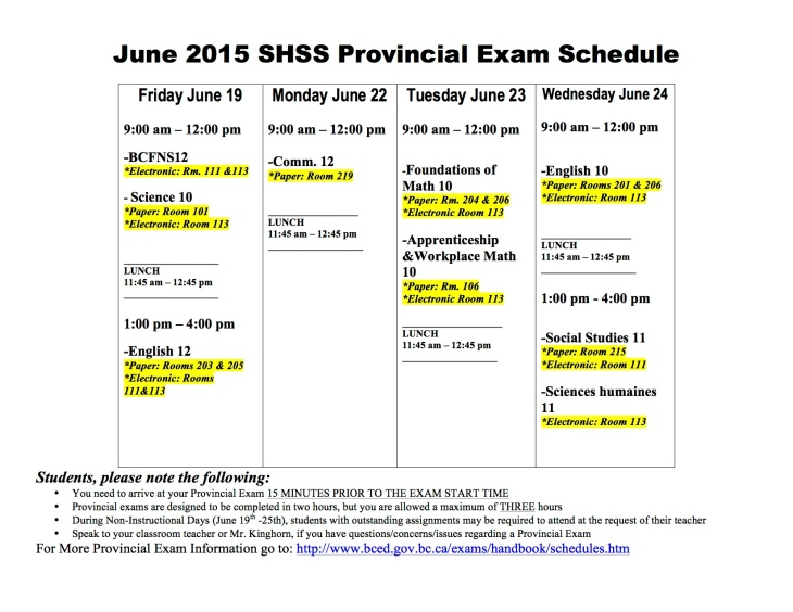 Provincial Exam Information « Stanley Humphries Secondary